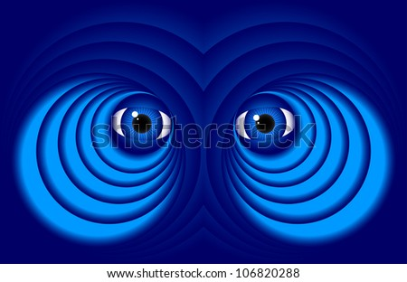 Abstract eyes on a dark blue background.