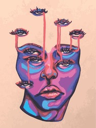 abstract face drawn by hand. avant-garde. surreal portrait