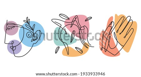 abstract face hand shapes lineal Foto stock ©