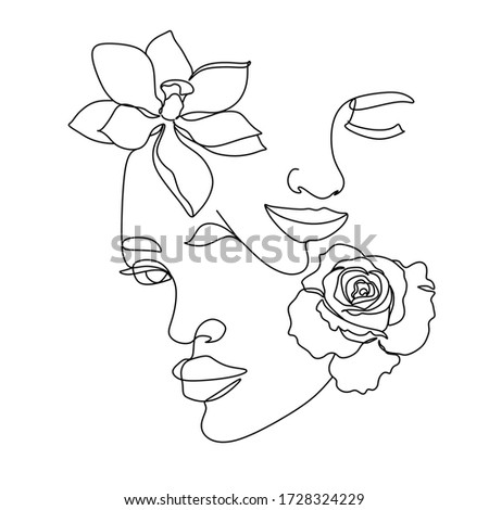 abstract face of 2 womans with