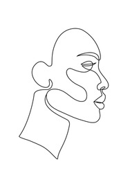 abstract face one line drawing. Portret minimalistic style