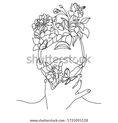 Abstract face with flowers by line art vector drawing. Portrait minimalistic style.  Botanical print. Nature symbol of cosmetics. Flower head. Fashion print. Beaty salon logo.