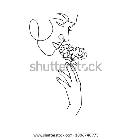 abstract face with flowers by