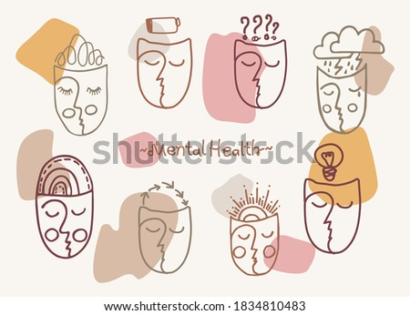 Abstract faces on a pastel background depicting various infusions. Mental Health Day. Banner, flyer poster, brochure.