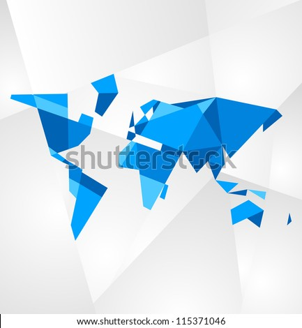 Abstract facet world map vector. Business theme.