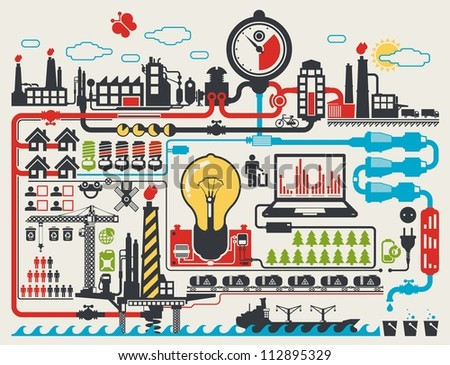 abstract factory info graphic elements, vector background - stock vector