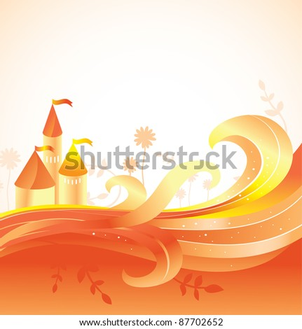 abstract fairy tale background with castle - vector illustration