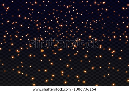 Abstract falling golden lights. Magic gold dust and glare. Festive Christmas background. Golden rain. Vector illustration #1086936164
