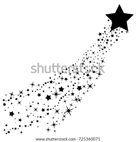 Abstract Falling Star Vector - Black Shooting Star with Elegant Star Trail on White Background - Meteoroid, Comet, Asteroid, Stars
