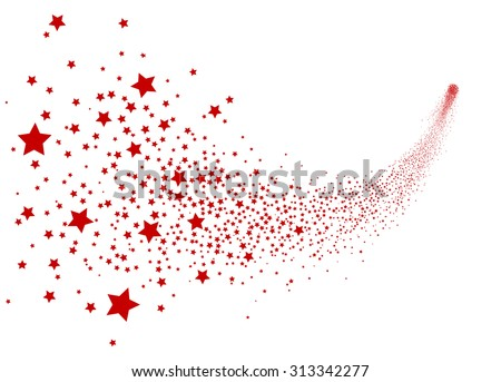 Abstract Falling Star Vector - Red Shooting Star with Elegant Star Trail on White Background - Meteoroid, Comet, Asteroid, Stars