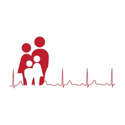 abstract family as a part of heart line, logo icon