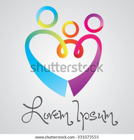 Abstract family icon. Together symbol. Vector logo, heart shape.