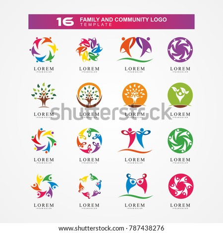 Abstract family logo. Community and Network logo element