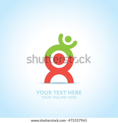 Abstract family logo, design concept, emblem, icon, flat logotype element for template.