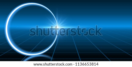 Abstract fantastic background with neon geometric circular line, star and space portal into another dimension