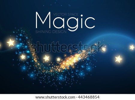 Abstract Fantastic Wave Background. Magic Design with Gold Dust and Stars. Night Sky and Wind. Party Space. Vector illustration
