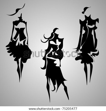 abstract fashion figures vector