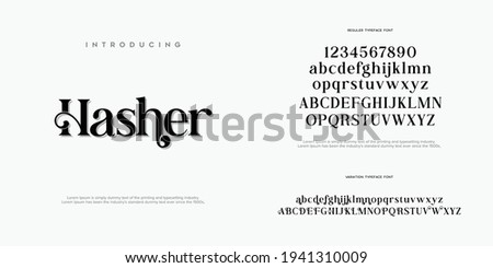 Abstract Fashion font alphabet. Typography typeface uppercase lowercase and number. vector illustration