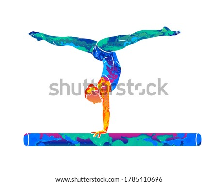 Abstract female athlete doing a complicated exciting trick on gymnastics balance beam from splash of watercolors. Vector illustration of paints Сток-фото ©