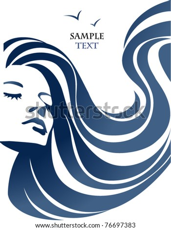 abstract female face with wavy