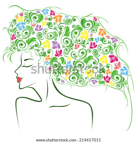 Abstract female head contour with colourful floral elements as a hair, hand drawing vector illustration