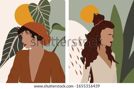 Abstract Female illustration. Boho Woman feminism art. Plant Lady Poster.