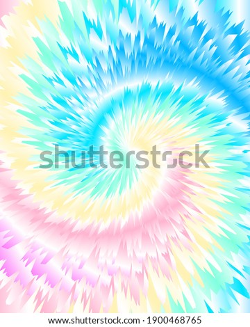Abstract festive colorful background, pastel rainbow Tie Dye pattern, vector illustration. Crazy boho spiral swirl paint.