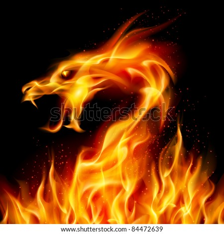 Abstract fiery dragon. Illustration number two on black background for design
