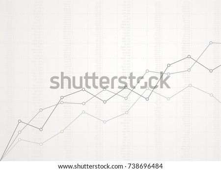 Abstract financial ascending linear graph with numbers on white background.