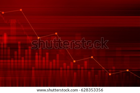 Abstract financial background with downtrend line graph and bar chart in stock market on gradient red color