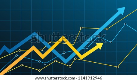 Abstract financial chart with arrow
