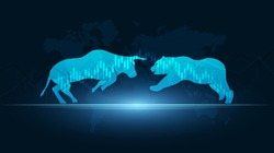 Abstract financial chart with bulls and bear in stock market on blue color background