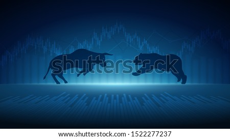 Abstract financial chart with bulls and bear in stock market on blue color background Photo stock ©
