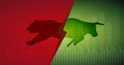 Abstract financial chart with bulls and bear in stock market on green and red color background