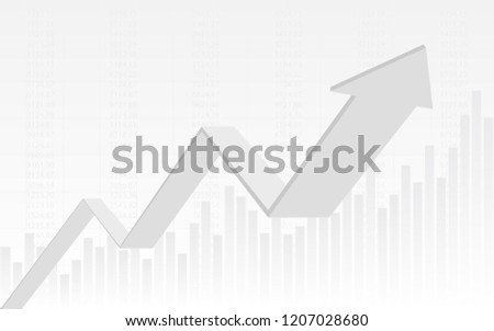 abstract financial chart with 3d uptrend line graph arrow and numbers in stock market on gradient white color background