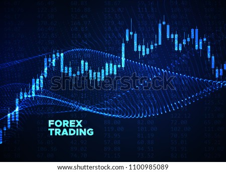 Abstract financial chart with japanese candlestick chart glowing wavy graphs and numbers. Vector illustration. Financial market data. Forex trading concept. Stock exchange symbol.