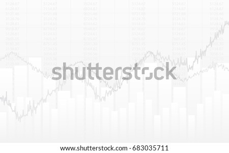 abstract financial chart with line graph and numbers in stock market on gradient white color background
