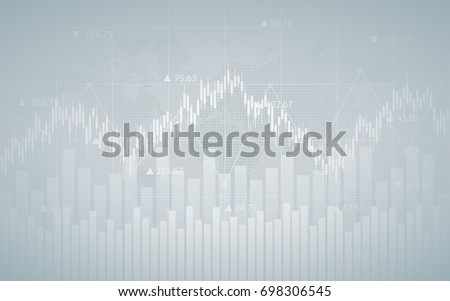 Abstract financial chart with line graph, bar chart and numbers in stock market on gradient gray color background