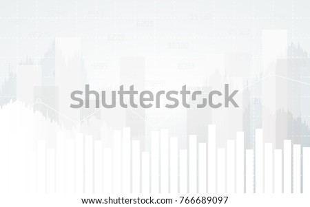 Abstract financial chart with trend line graph and numbers in stock market on white color background