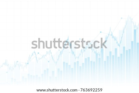 Abstract financial chart with up trend line graph and bar chart in stock market on white color background