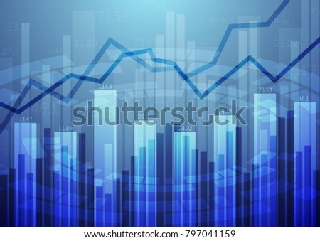 Abstract financial chart with up trend line graph , and stock numbers in stock market on gradient light blue background.Vector illustrations.