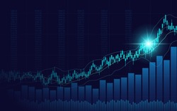 Abstract financial chart with uptrend line candlestick graph in stock market on blue color background