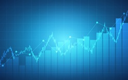 Abstract financial chart with uptrend line graph and bar chart on blue color background