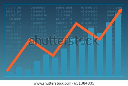 Abstract financial chart with uptrend line graph and bar chart on blue color background (vector)