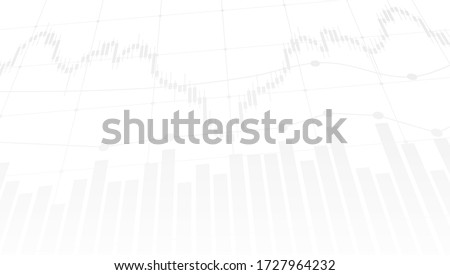 abstract financial chart with uptrend line graph and candlestick on black and white color background. Vector