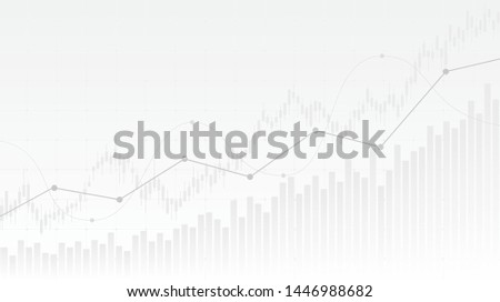 abstract financial chart with uptrend line graph and candlestick on black and white color background