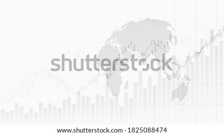 abstract financial chart with uptrend line graph and globe on black and white color background