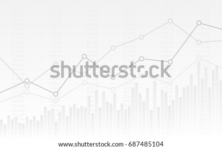 abstract financial chart with uptrend line graph and numbers in stock market on gradient white color background - Shutterstock ID 687485104