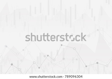 abstract financial chart with uptrend line graph and numbers in stock market on gradient white color background