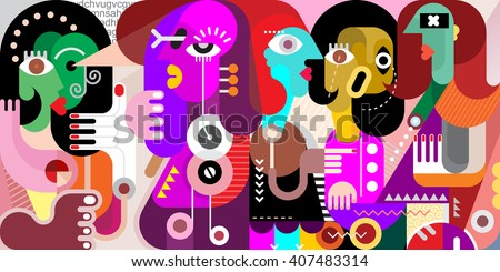Stock Photo Abstract fine art portrait of five adult people. Vector illustration of a  large company of people who have something to discuss.